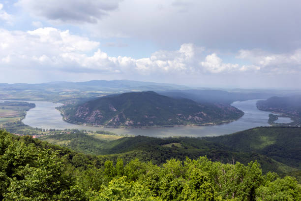 View of the Danube bend from the Predikaloszek mountain in Hungary stock photo