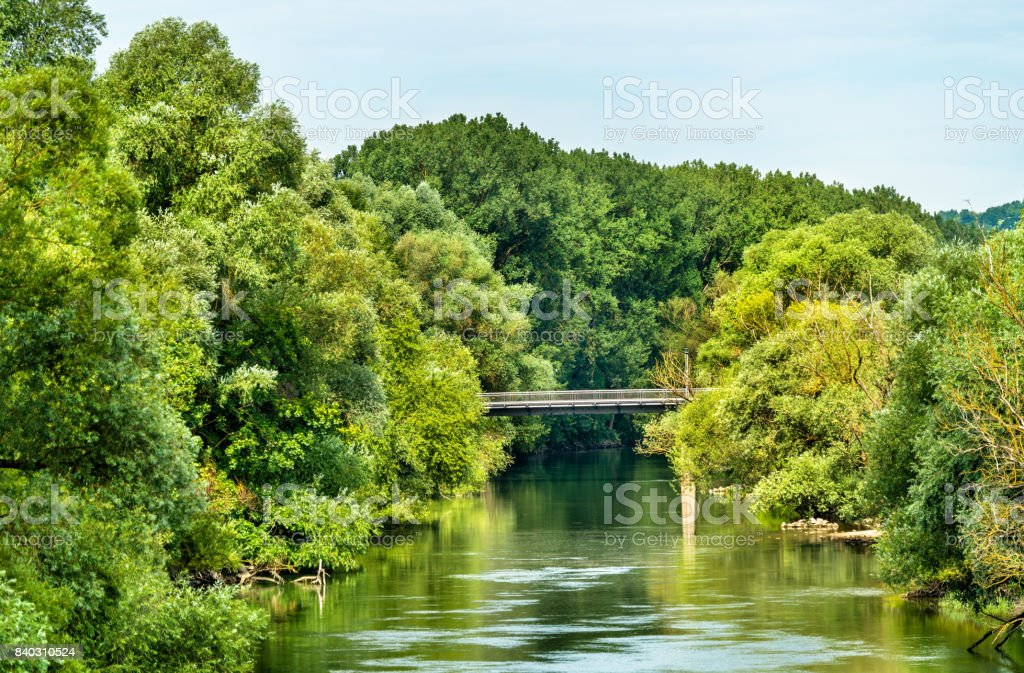View of the Danube river at Regensburg - Germany stock photo