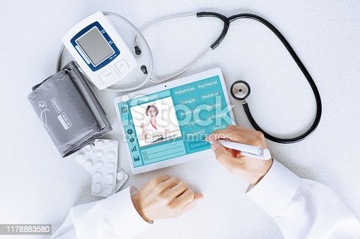 istock View of the desktop doctor. Remote consultation concept 1178883580