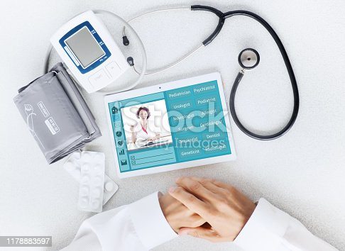 istock View of the desktop doctor. Remote consultation concept 1178883597