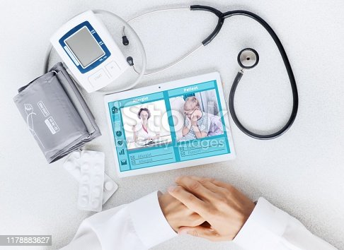 istock View of the desktop doctor. Remote consultation concept 1178883627