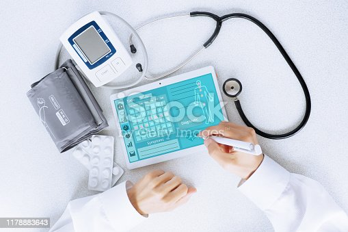 istock View of the desktop doctor. Remote consultation concept 1178883643
