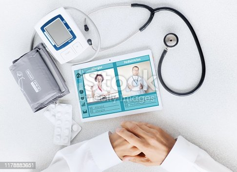 istock View of the desktop doctor. Remote consultation concept 1178883651