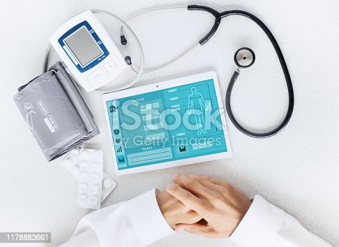 istock View of the desktop doctor. Remote consultation concept 1178883661