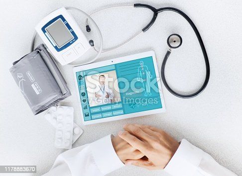 istock View of the desktop doctor. Remote consultation concept 1178883670