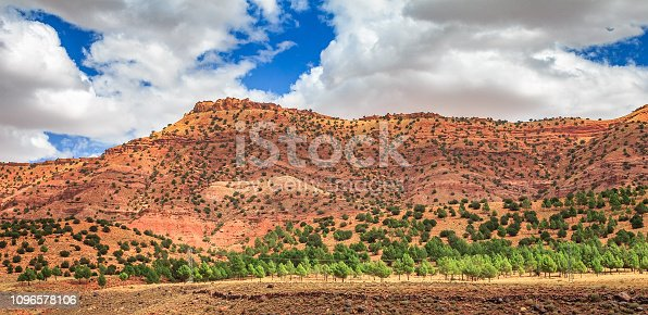 istock View of the desolating valley Ounila River. Beautiful Northern African Landscape . Fascinating view from the hill to the valley in Morocco 1096578106