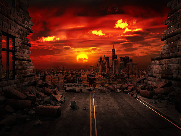 view of the destroyed city - apocalypse stock photos and pictures