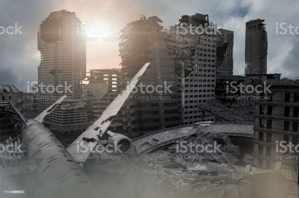 View Of The Destroyed Postapocalyptic City In The Sunset 3d Render Stock Photo Download Image Now Istock
