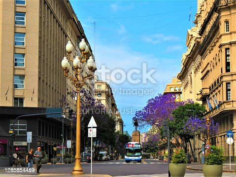 Buenos Aires, Argentina - November 18 , 2019.  People and cars of the Diagonal Sur Avenue  . Buenos Aires cityscape. Avenida Presidente Julio Argentino Roca better known as Diagonal Sur, is an important avenue in the Monserrat neighborhood of Buenos Aires city.