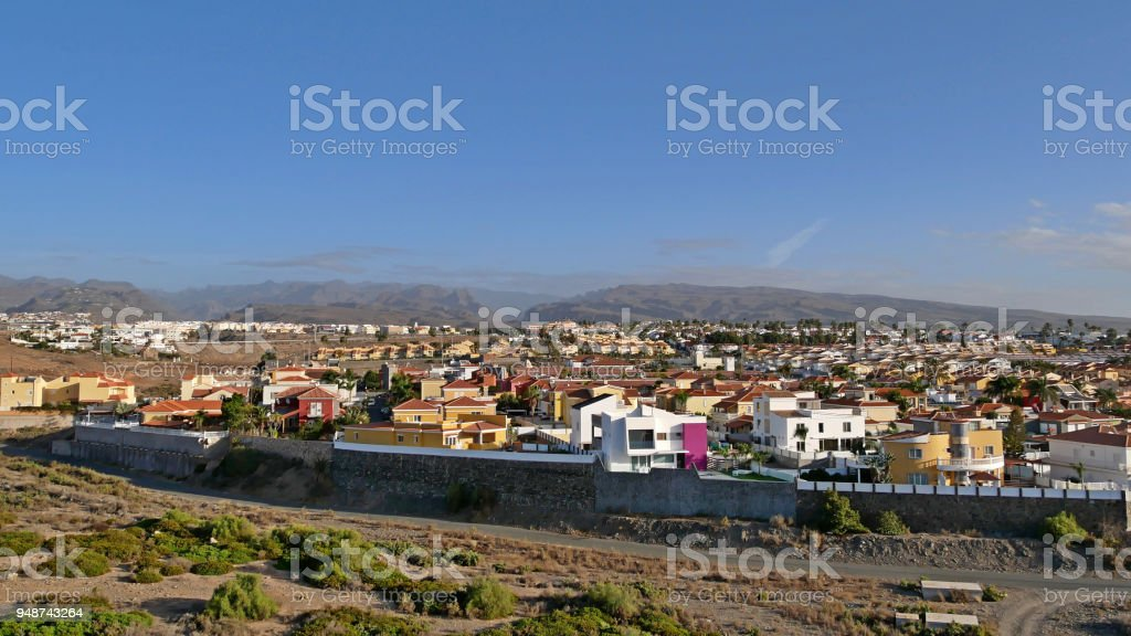 View of the district of sonnenland, Playa of the Ingles on gran canaria, Spain stock photo