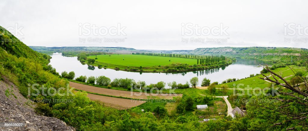 View of the Dniester reservoir landscape stock photo