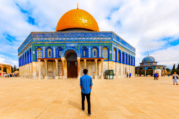 View of the Dome Of the Rock. Jerusalem, Israel- March 14, 2017: View of the Dome Of the Rock- Islamic shrine located on the Temple Mount in the Old City of Jerusalem. dome of the rock stock pictures, royalty-free photos & images