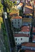 istock View of the Dos Guindais funicular and the city of Porto at sunrise with the historical house facades since Luis I bridge lookout. 1250240655