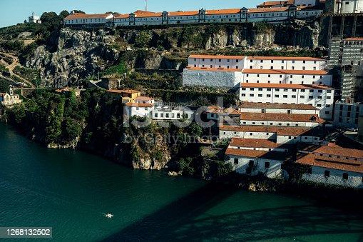 View of the Douro river from Dom Luis I Bridge, Porto, Portugal.