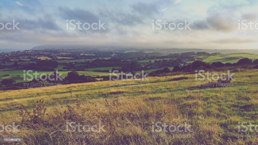View of The Downs at sunset stock photo