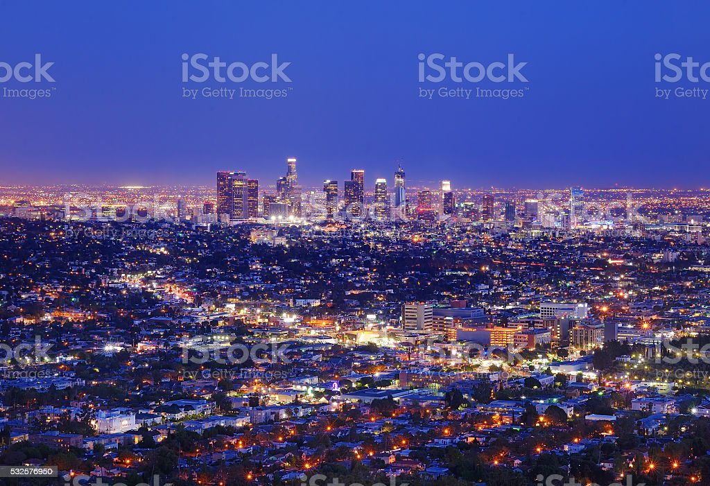View of the downtown Los Angeles skyline at night stock photo