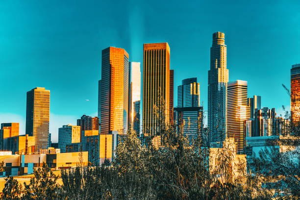 View of the Downtown of LA in the evening, before sunset time. stock photo