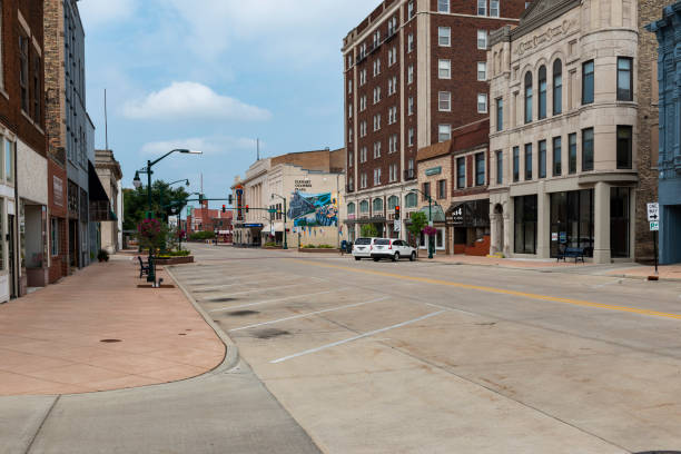 View of the downtown of the city of Elkhart, in the State of Indiana. stock photo