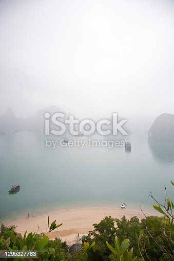 istock View of the early morning sea mist from Dao Titop Island, Halong Bay, Vietnam 1295327763