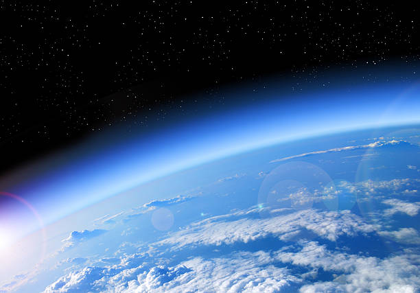 view of the earth from space - stratosphere stock pictures, royalty-free photos & images