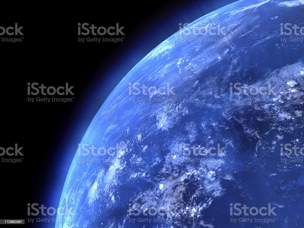 View of the earths oceans from space stock photo
