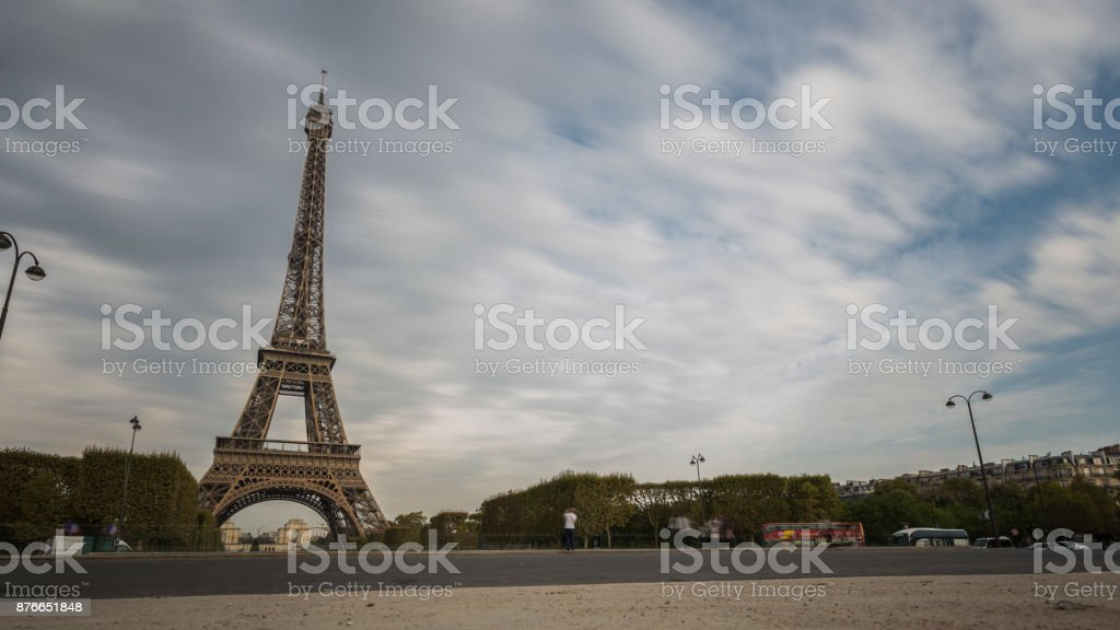 View of the Eiffel Tower in Paris stock photo