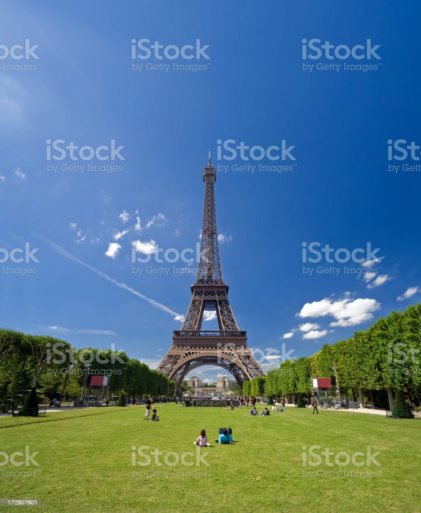 A view of the Eiffel Tower on a sunny day royalty-free stock photo