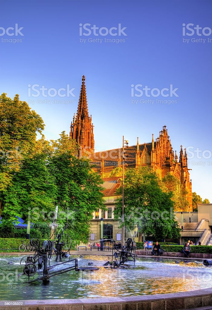 View of the Elisabethenkirche in Basel stock photo