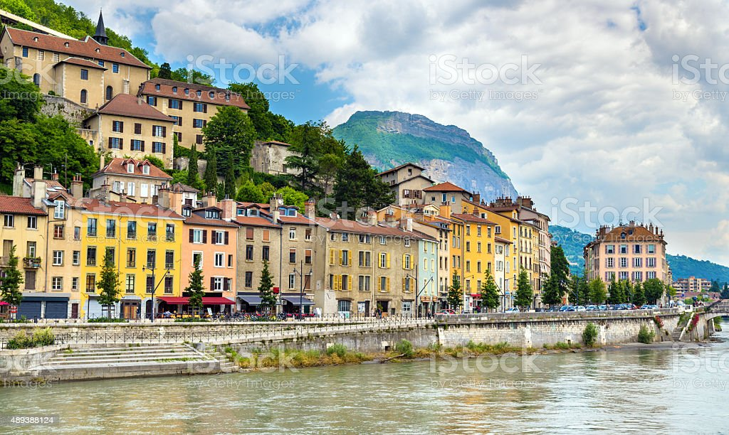 View of the embankment in Grenoble - France stock photo