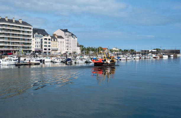View of the embankment in the port city of Cherbourg. Normandy, France Cherbourg-Octeville, France - August 28, 2018: View of the embankment in the port city of Cherbourg. Normandy, France cherbourg stock pictures, royalty-free photos & images
