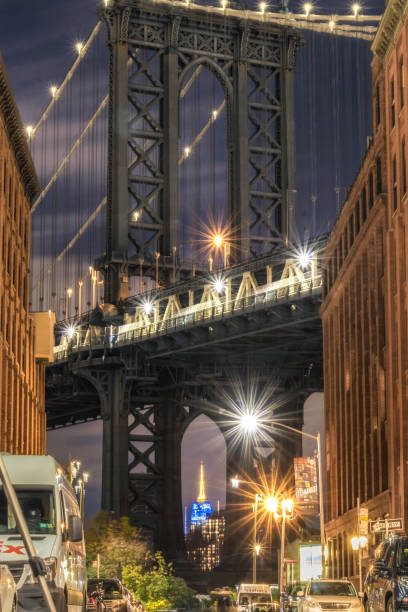 View of the Empire State Building through the Manhattan bridge