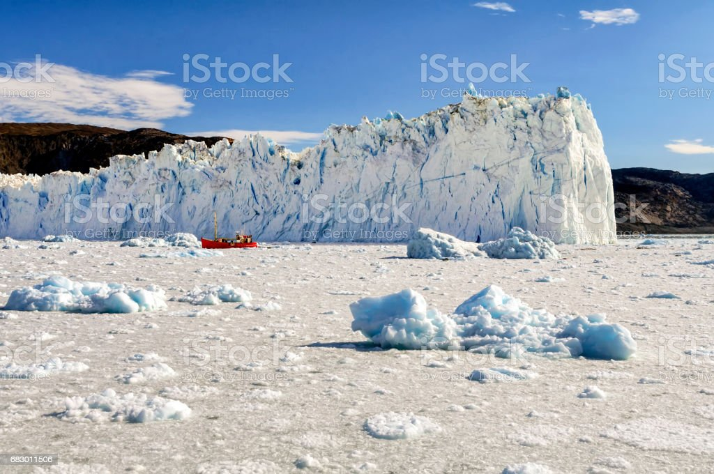 View of the Eqi Glacier in Greenland stock photo