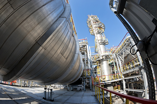 View of the equipment for purification of oil and oil products from impurities at the refinery. Shot on a fisheye