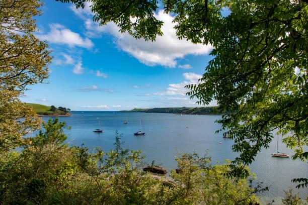 view of the estuary of the helford river, cornwall - estuário imagens e fotografias de stock