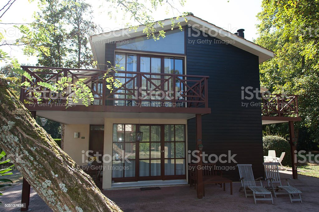 View of the exterior of a beautiful modern house stock photo