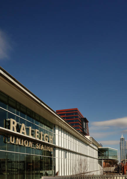 View of the exterior of Union Station train depot in downtown Raleigh, NC stock photo