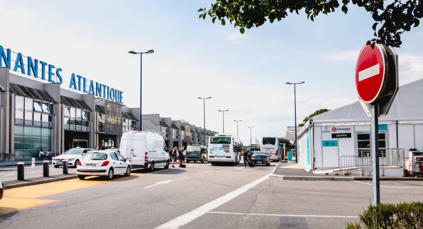 view of the facade of Nantes Atlantique International Airport stock photo