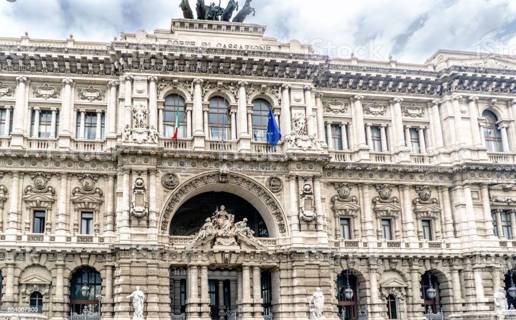 View of the facade of the Supreme Court of Cassation on Court Square in central Rome, Italy. stock photo
