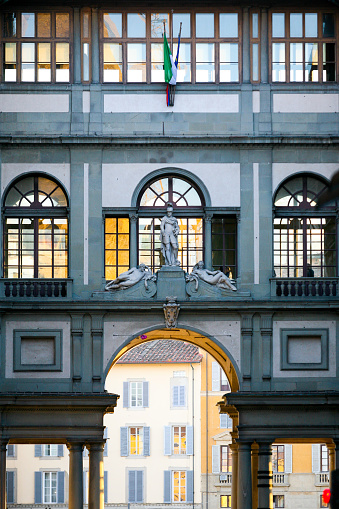 Florence, Italy, March 20 --  A view of the facade of the Uffizi Museum near Piazza della Signoria in Florence and Palazzo Vecchio, symbol of economic, political and military rule of the Medici dynasty in the ancient Florence.