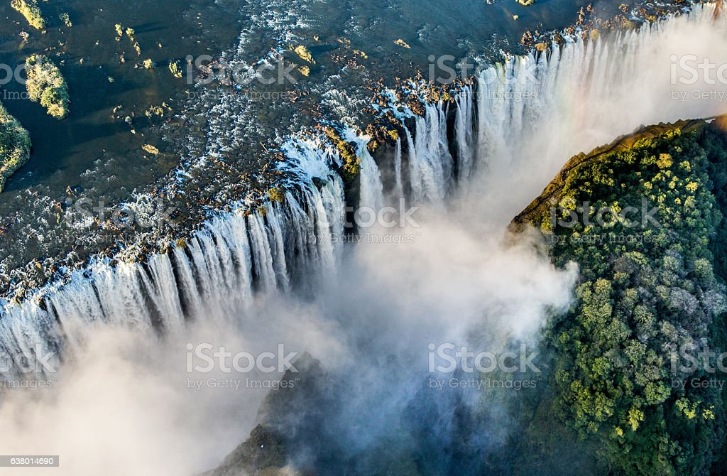 View of the Falls from a height of bird flight. stock photo