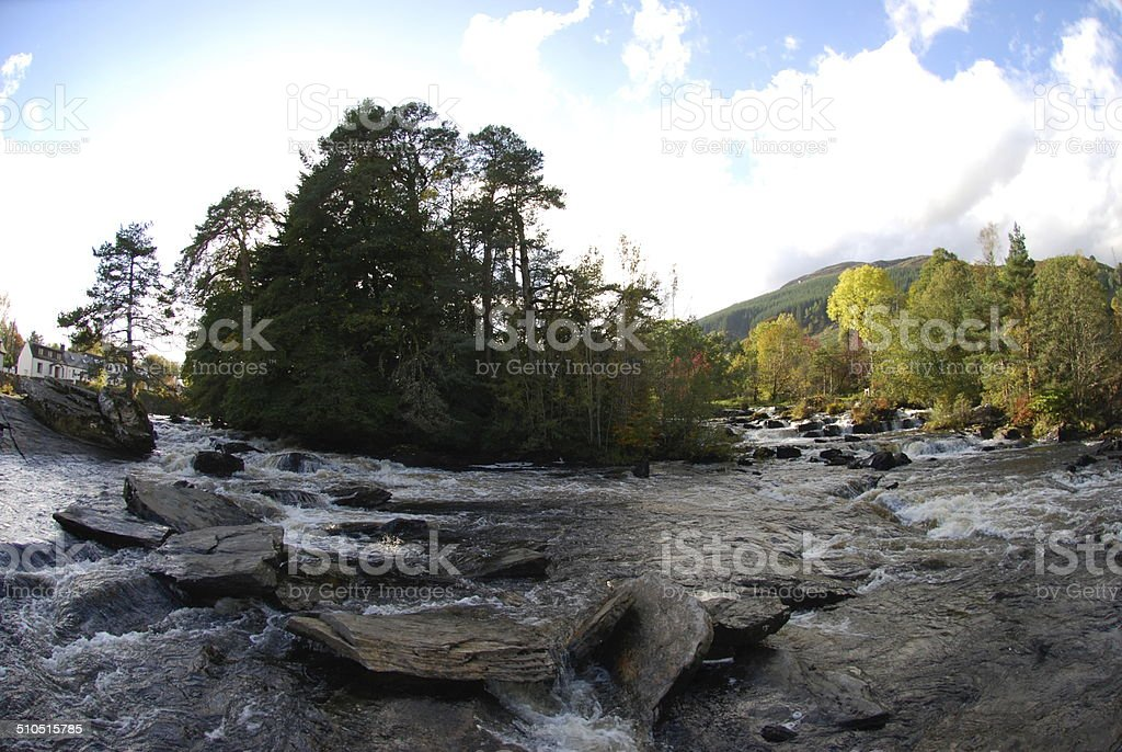 View of the Falls of Dochart stock photo