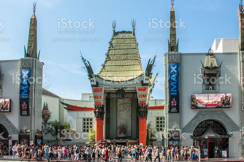View of the famous building of the Chinese Theater in Hollywood stock photo
