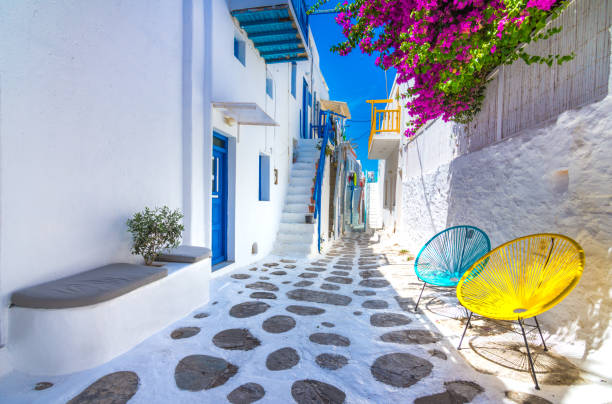 View of the famous pictorial narrow streets of Mykonos town in Mykonos island, Greece. stock photo