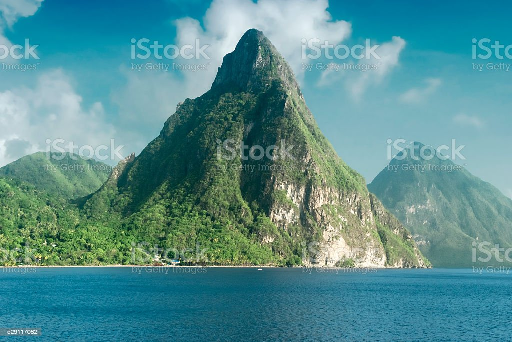 View of the famous Piton mountains in St Lucia stock photo