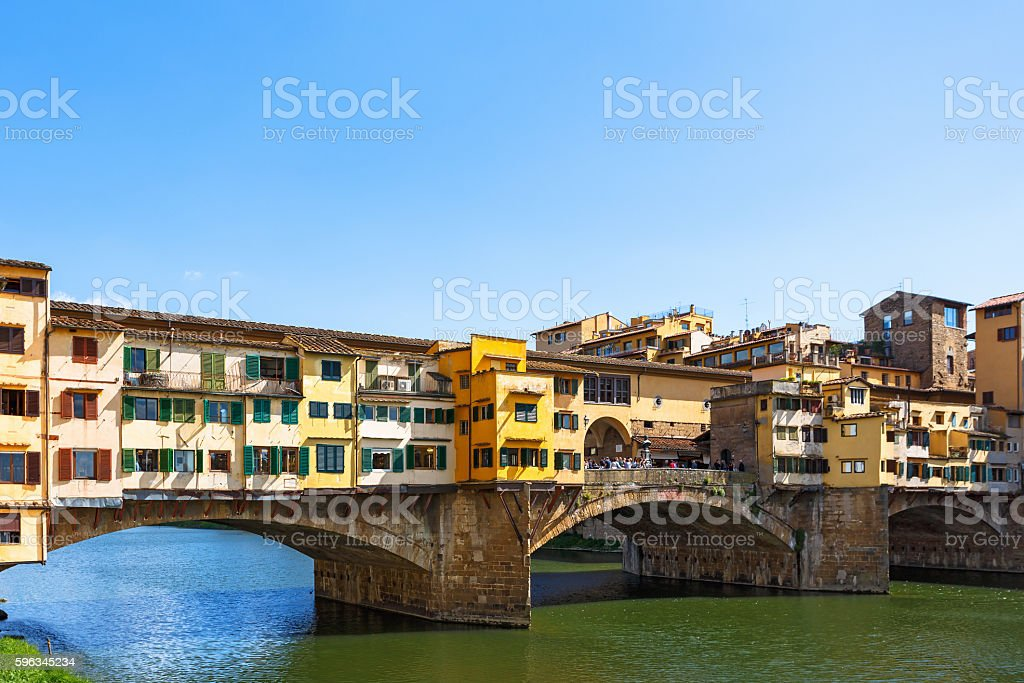 View of the famous Ponte Vecchio bridge in Florence royalty-free stock photo