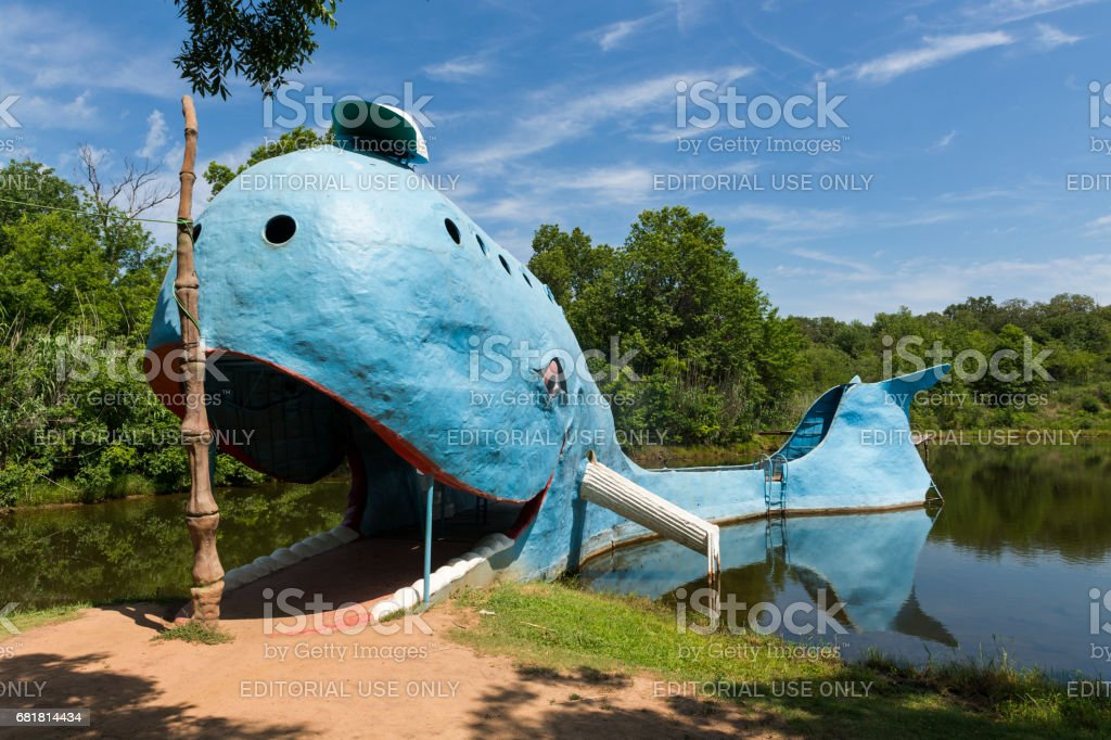 View of the famous road side attractions Blue Whale of Catoosa along the historic Route 66 in the State of Oklahoma, USA. stock photo