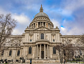London, England - January 14, 2018: View of the famous St. Paul's Cathedral in city center on a cloudy day