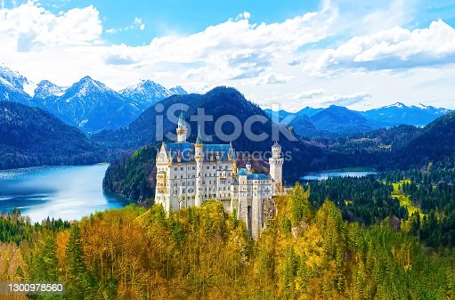 Hohenschwangau, Germany - May 28, 2017: famous tourist attraction in the Bavarian Alps - the 19th century Neuschwanstein castle at Hohenschwangau, Germany on May 28, 2017.
