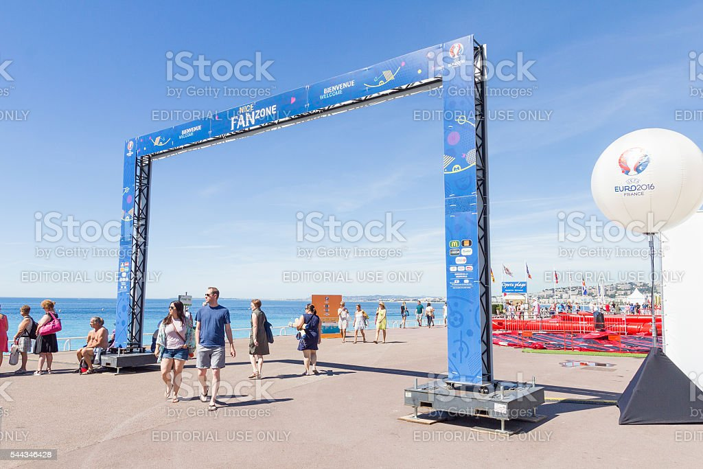 View of the fan zone for the Eurocup 2016, Nice stock photo