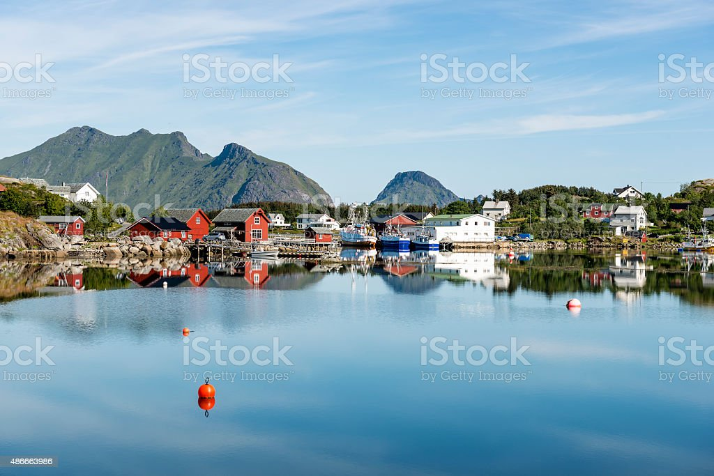 View of the fishing harbor in the Lofoten Archipelago. stock photo